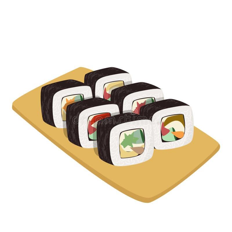 设置日本料理 亚洲膳食的五颜六色的寿司收藏 库存例证