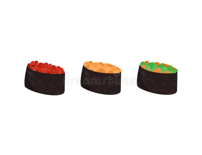 设置日本料理 亚洲膳食的五颜六色的寿司收藏 向量例证