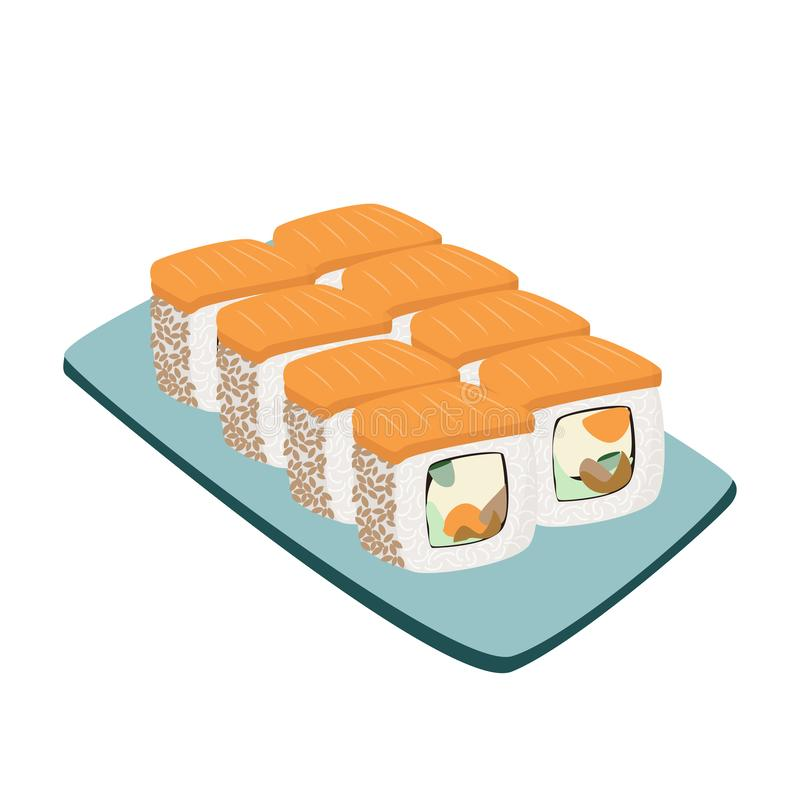 设置日本料理 亚洲膳食的五颜六色的寿司收藏 皇族释放例证