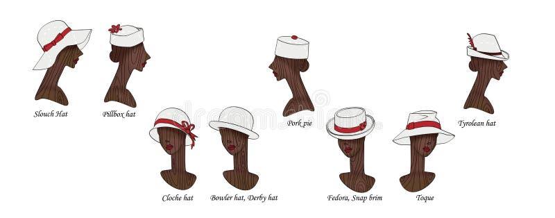 设置时兴和减速火箭的女性帽子8个变形在女性头木时装模特的  背景查出的白色 皇族释放例证