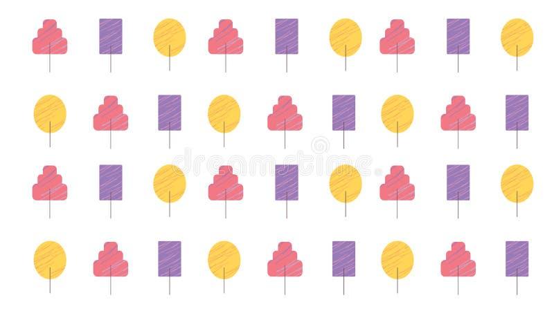 设置时髦树仿造背景和印刷品的手拉的样式例证 向量例证