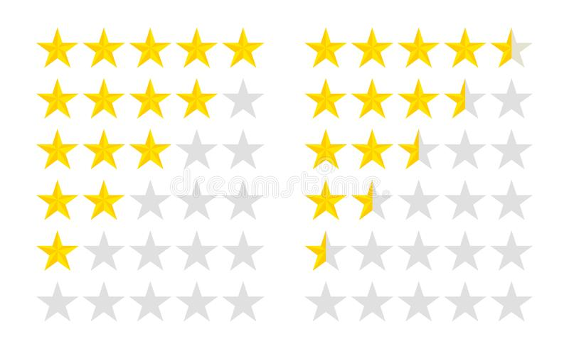 星级集 带金星图标的客户评论 5星级和半评估客户,采用平面风格 矢量 向量例证