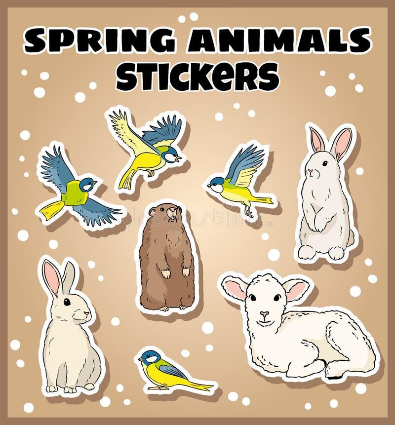 设置春天动物贴纸 标签乱画汇集 库存例证