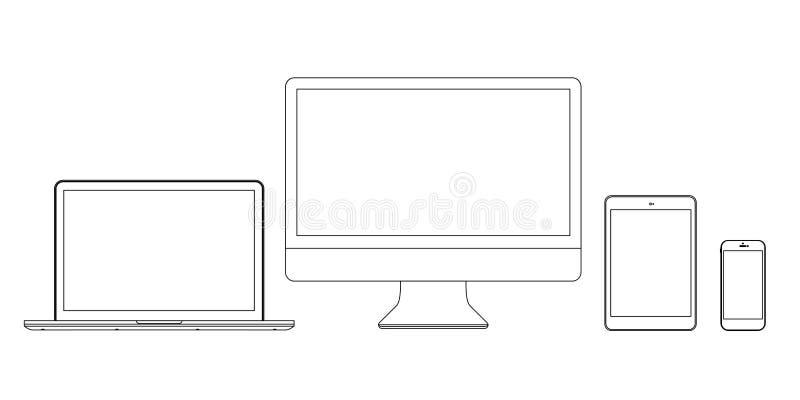 设置显示器膝上型计算机片剂和电话在线 库存例证