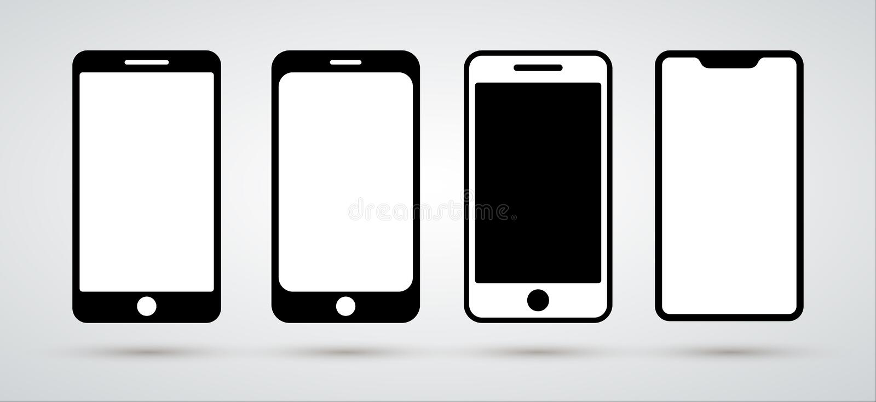 设置智能手机象 设计平的样式 您的网站设计的手机标志,商标,应用程序,UI例证 免版税库存图片
