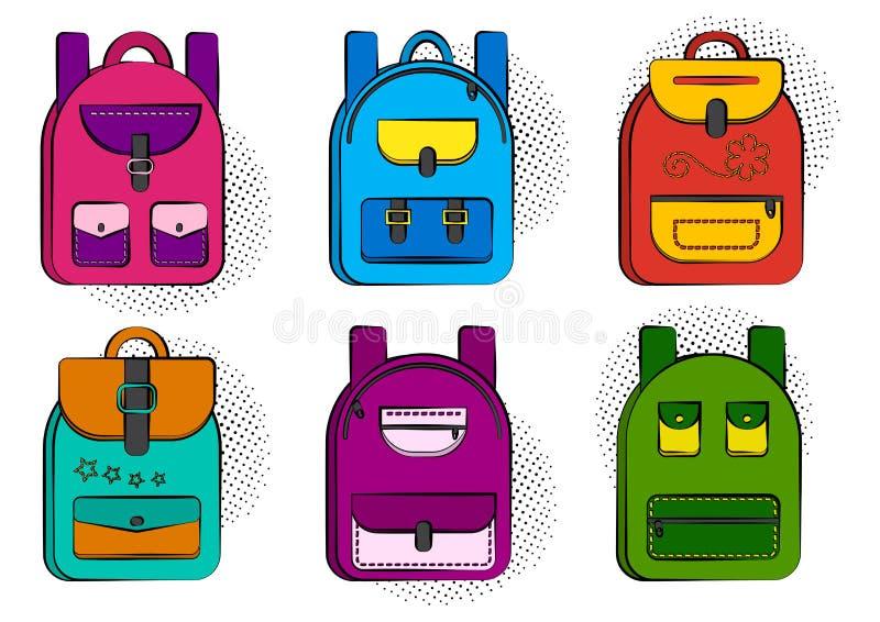 设置有半音阴影的五颜六色的可笑的学校背包在流行艺术样式 ?? 皇族释放例证
