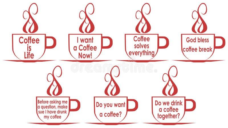 设置有句子的咖啡杯,隔绝,用英语 向量例证