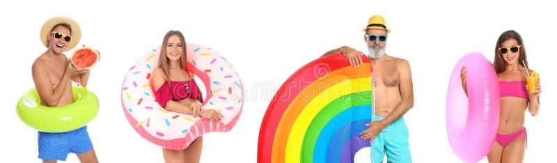 设置有可膨胀的圆环的人在白色 免版税库存照片