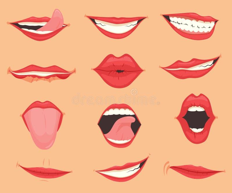 设置有各种各样的嘴情感和表示的女性嘴唇 r 向量例证