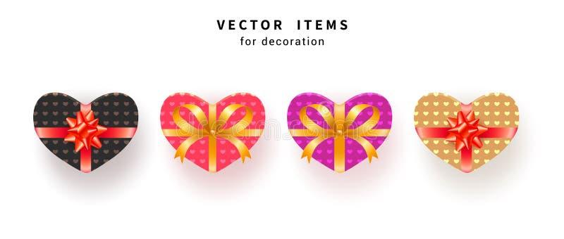 设置有在白色背景隔绝的弓和纹理包裹的心形的礼物盒 向量例证