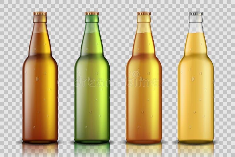 设置有在透明背景隔绝的液体的现实玻璃啤酒瓶 空白模板的啤酒瓶嘲笑 向量例证