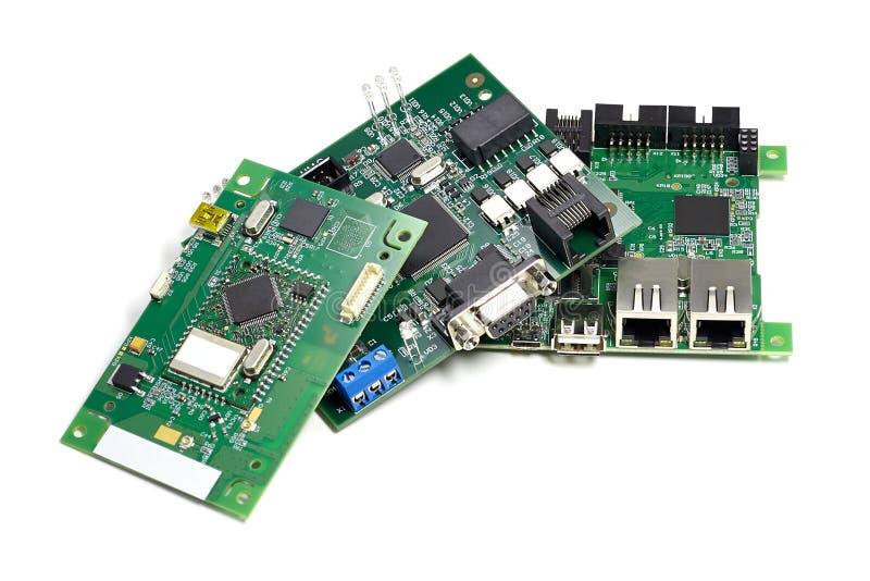 设置有微集成电路的,leds和其他组分,角度图电子电路板,隔绝在白色 库存照片