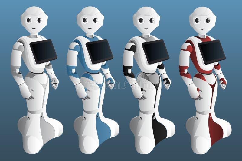 设置有数字片剂的现实机器人 皇族释放例证