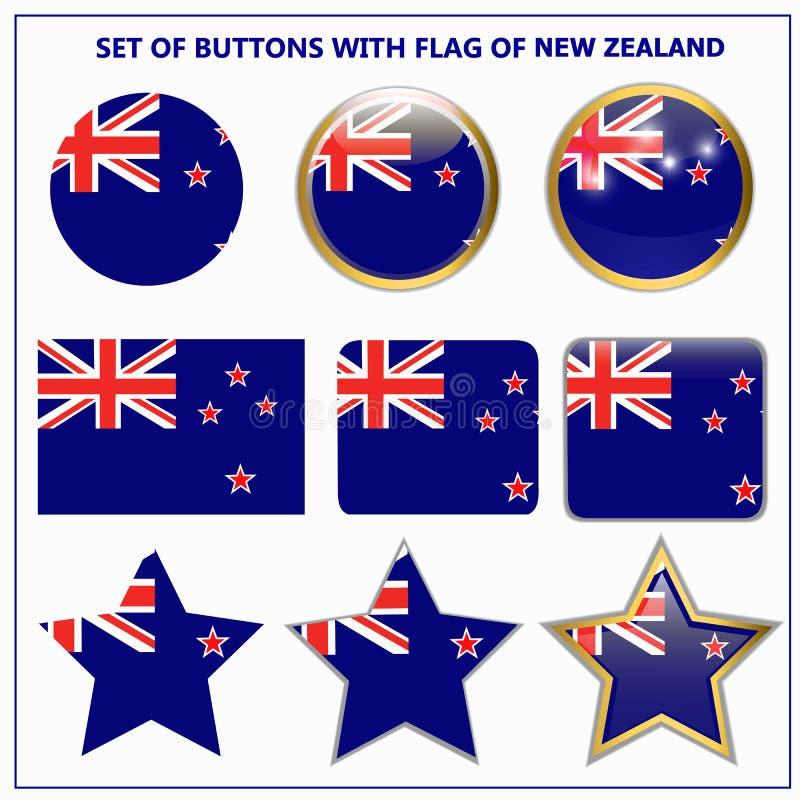 设置有新西兰的旗子的按钮 向量例证