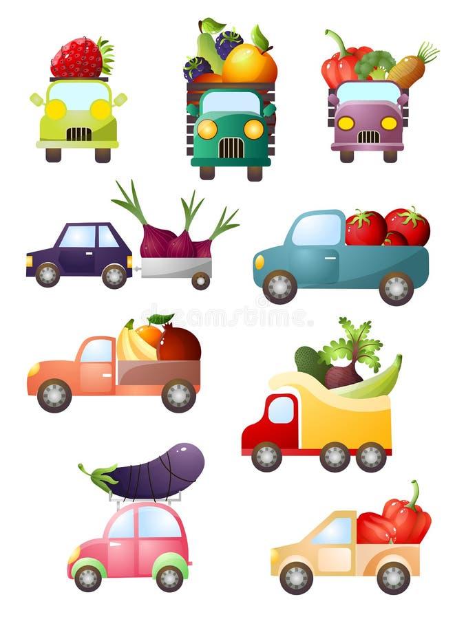 设置有新鲜蔬菜和果子的五颜六色的玩具汽车 皇族释放例证