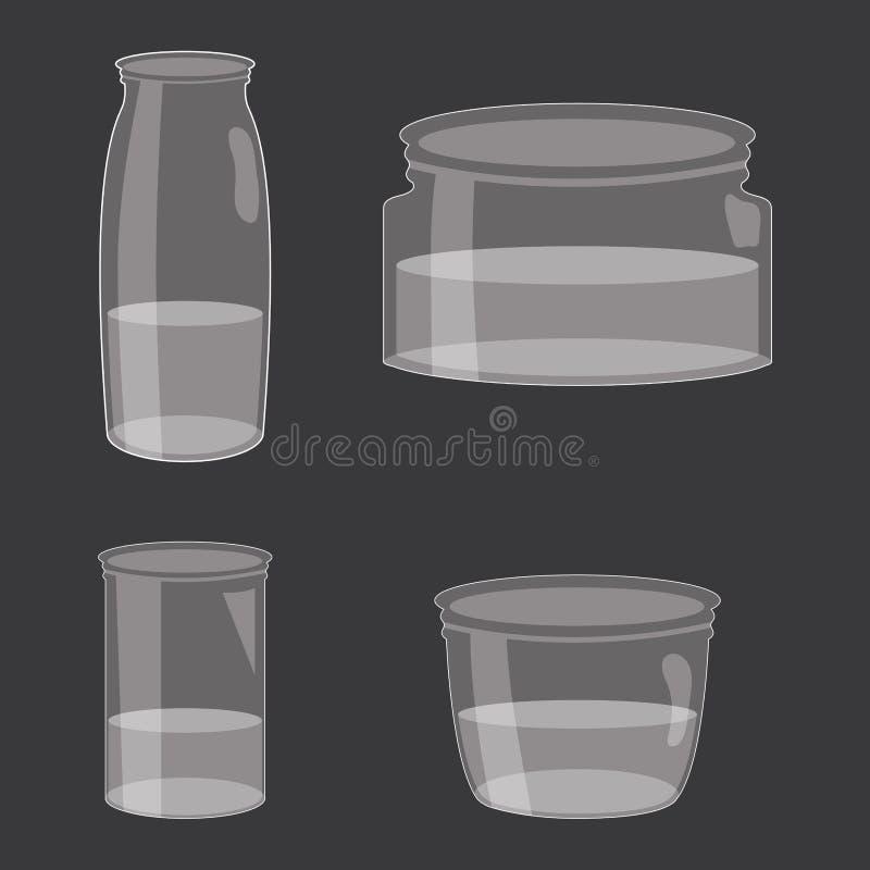 设置有液体的金属螺盖玻璃瓶 库存例证