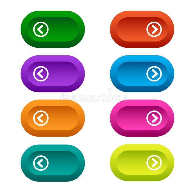 设置有箭头的,五颜六色的长的圆的按钮网按钮 ?? 皇族释放例证