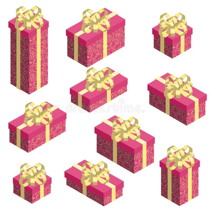 设置有红色样式套和金黄弓的等量礼物盒 皇族释放例证