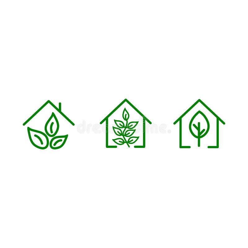 设置有绿色叶子里面的一个平的绿色家 传染媒介大厦标志 环境友好的房子 能为商标和海报,象使用 库存例证