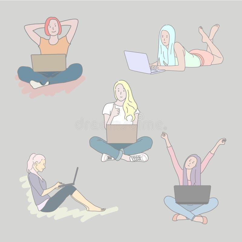 设置有膝上型计算机的女孩用不同的姿势 E 向量例证