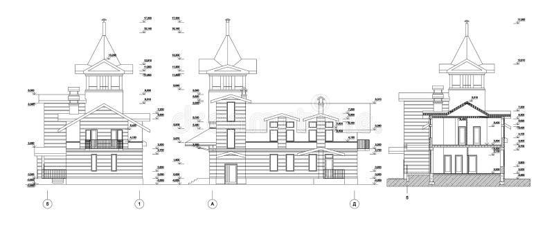 设置木与塔,详细的建筑技术图画,传染媒介图纸的日志私有房子或教会门面 库存例证