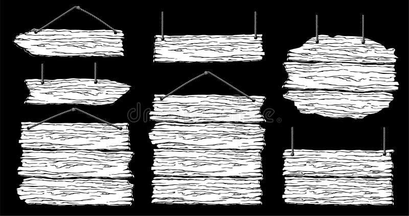 设置木横幅、路标或者委员会 库存例证