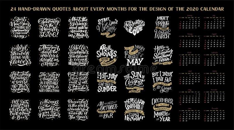 设置构成每个月,日历,计划者模板 日历设计,例证的手拉的在上写字的行情 皇族释放例证