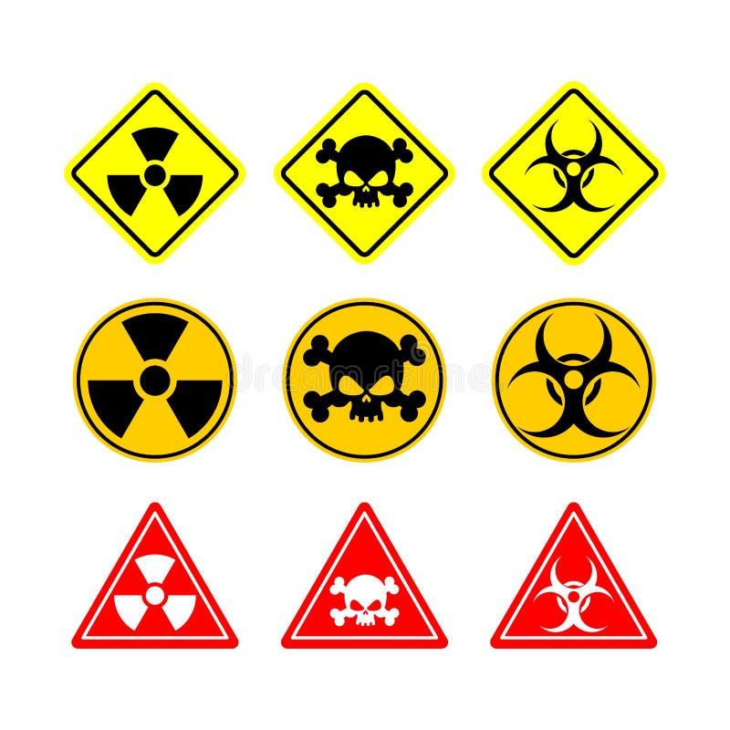 设置标志生物危害品,毒力,危险 黄色标志的各种各样 向量例证
