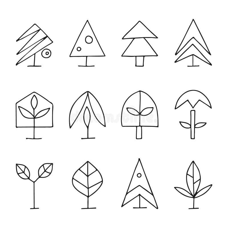 设置树的向量图形手拉的风格化例证 画的象的装饰抽象收藏,乱画样式 向量例证