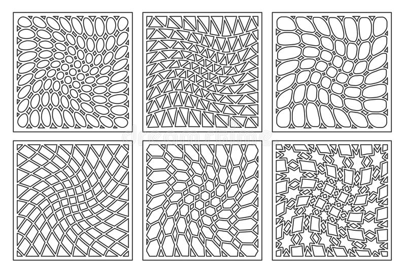 设置样式几何装饰品 激光切口的卡片 元素装饰设计 几何模式 向量例证