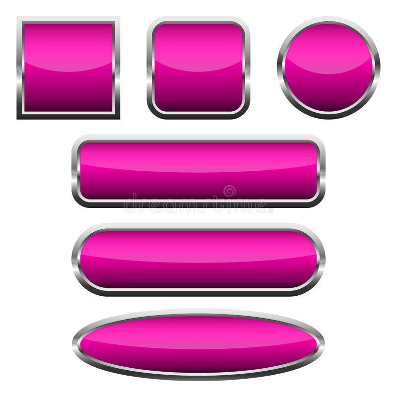 设置桃红色光滑的按钮 也corel凹道例证向量 皇族释放例证