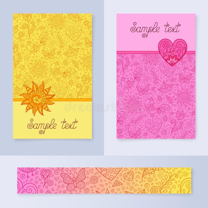 设置桃红色和黄色春天卡片或者横幅设计与与春天等高形象文本的,贴纸,消息的样式, 向量例证