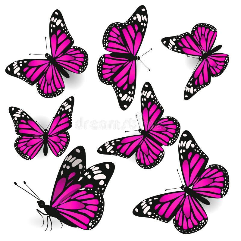 设置桃红色蝴蝶 在白色背景的孤立 o 向量例证