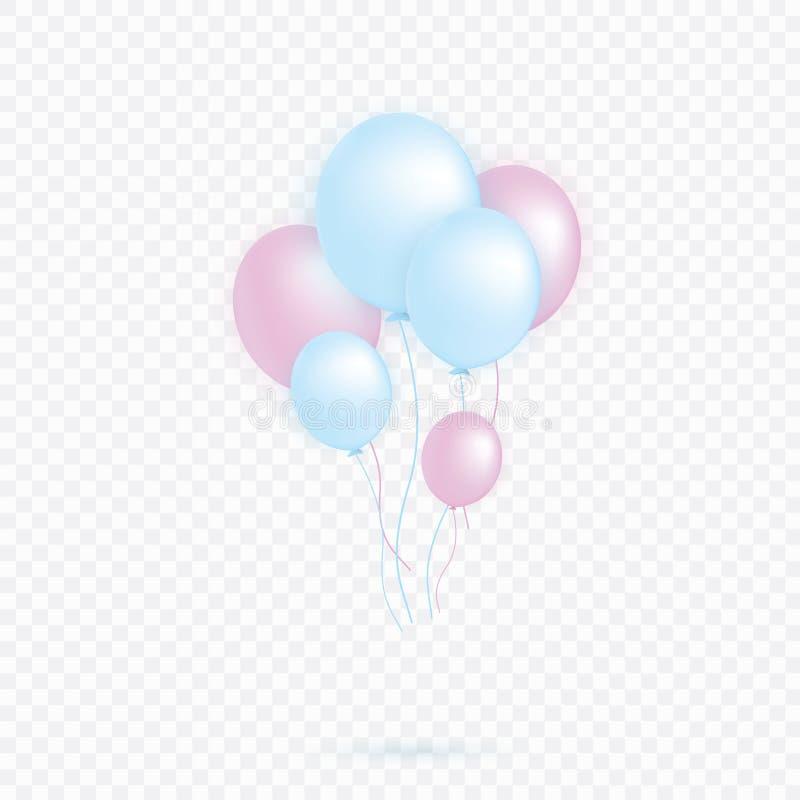 设置桃红色,蓝色透明与五彩纸屑在天空中隔绝的氦气气球 党装饰的一个生日 向量例证