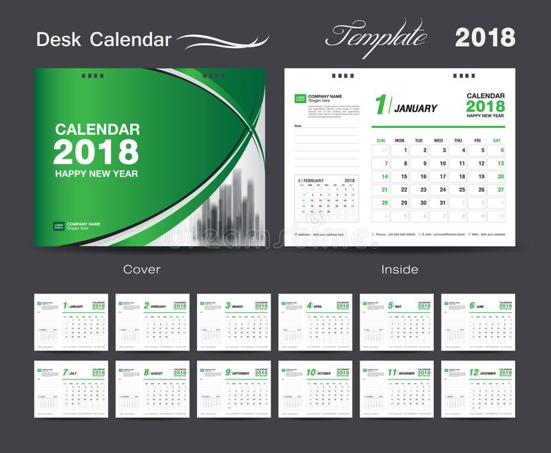 设置桌面日历2018年模板设计,绿色盖子 皇族释放例证