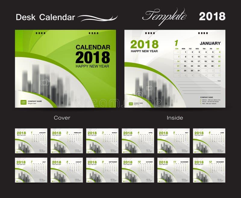 设置桌面日历2018年模板设计,绿色盖子图片