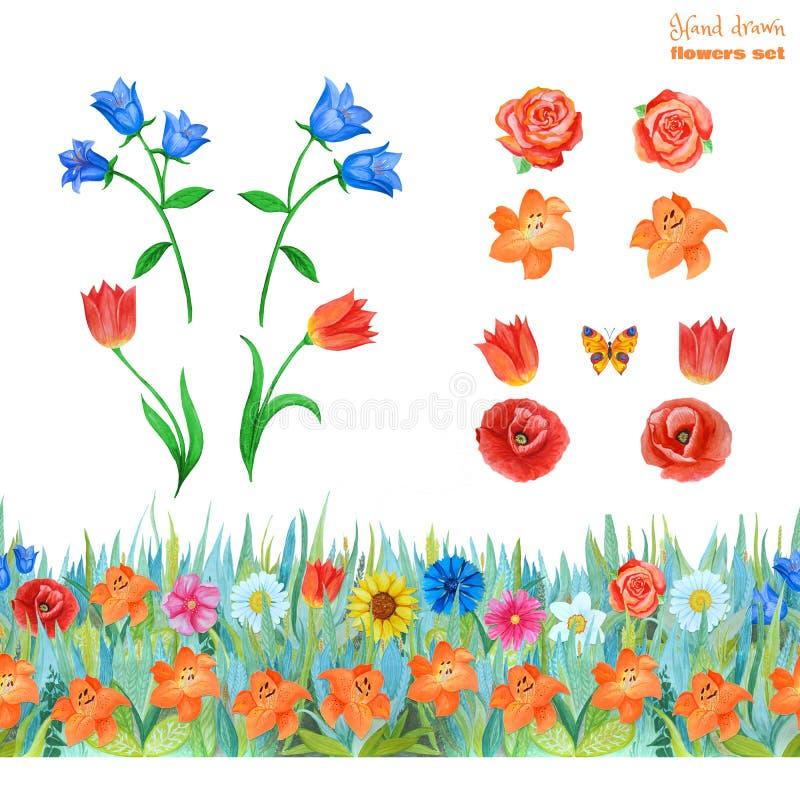 设置桔子,蓝色和红色花 鸦片,郁金香,玫瑰,百合,蓝色响铃 无缝的花卉边界 库存照片