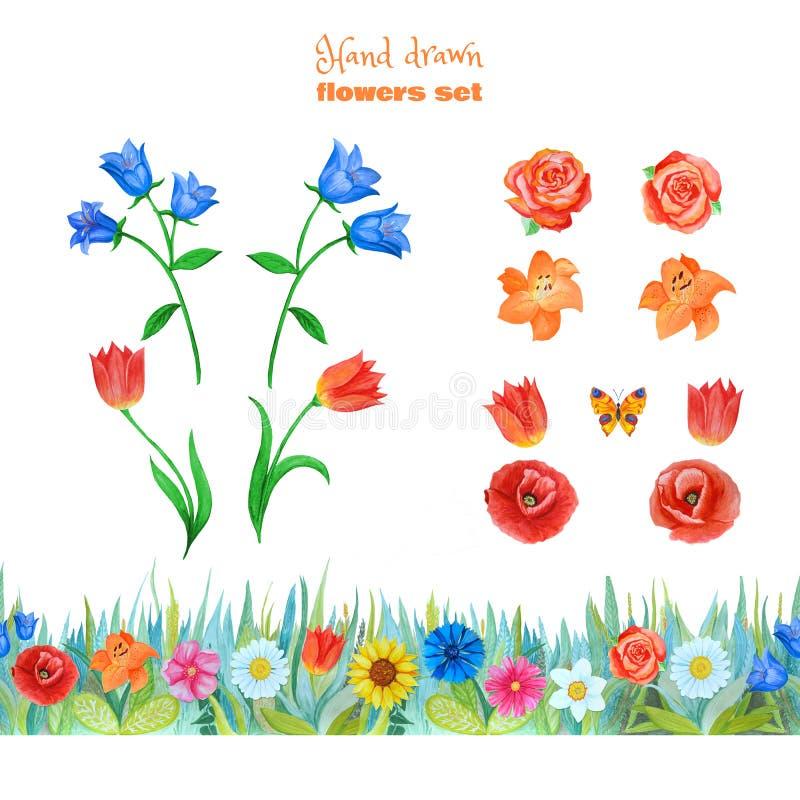 设置桔子,蓝色和红色花 鸦片,郁金香,玫瑰,百合,蓝色响铃 无缝的花卉边界 库存图片