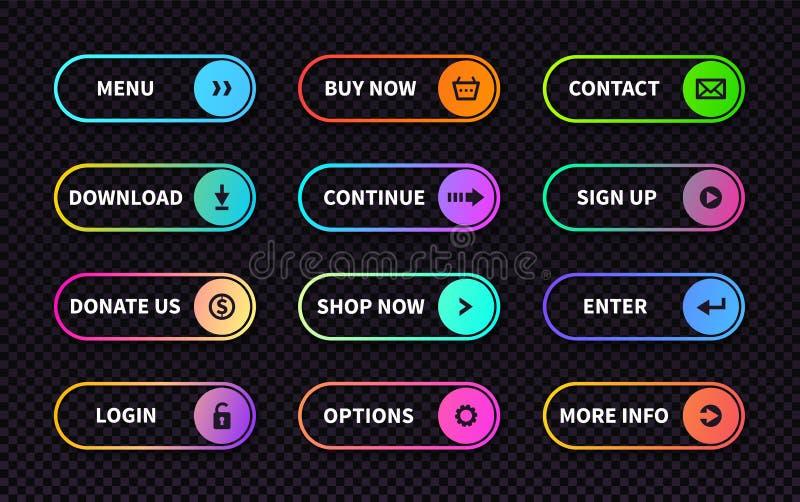 设置梯度行动按钮 平的网递交形式,现代转折标志,比赛航海ui设计元素 向量例证