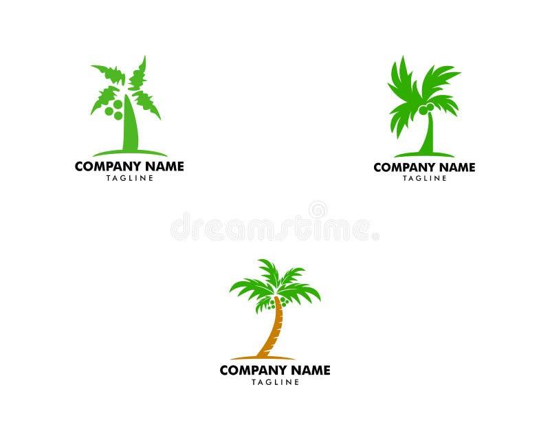 设置棕榈椰子象商标模板设计 向量例证