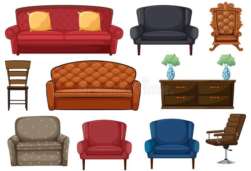 设置椅子和长沙发 皇族释放例证