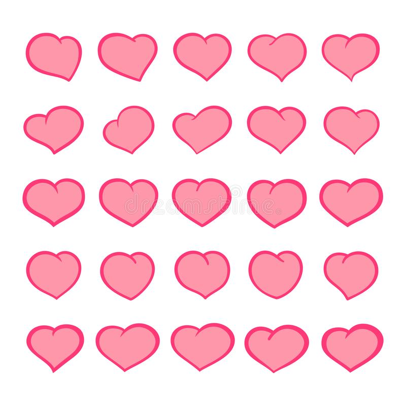 设置概述与可笑的样式冲程的动画片心脏 小组被隔绝的手拉的逗人喜爱的心脏象 向量 皇族释放例证
