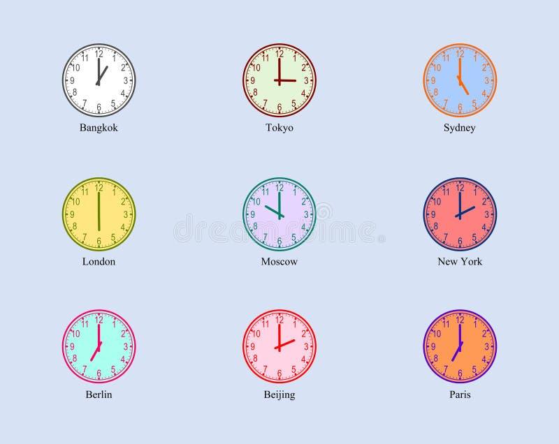 设置模式时钟世界区域时间 向量例证