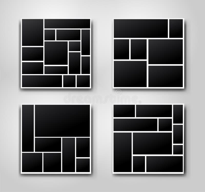 设置模板照片拼贴画照片或图片蒙太奇的图象框架 对您的设计图片蒙太奇摘要 向量 皇族释放例证