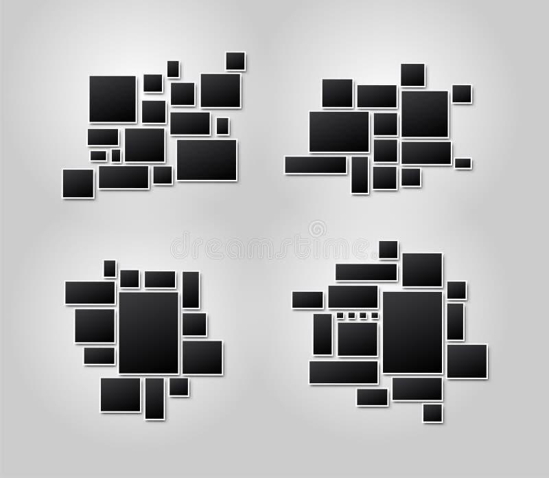 设置模板照片拼贴画照片或图片蒙太奇的图象框架 对您的设计图片蒙太奇摘要 向量 库存例证