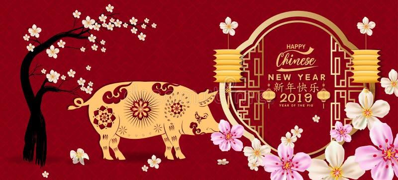 设置横幅愉快的农历新年2019年,猪的年 月球新年度 汉字卑鄙新年快乐 向量例证