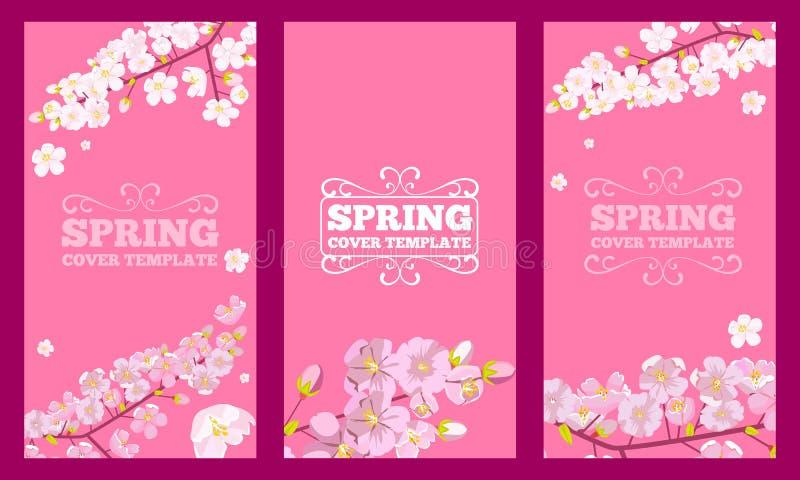 设置樱花装饰的封面设计 春天花概念飞行物设计 r 皇族释放例证