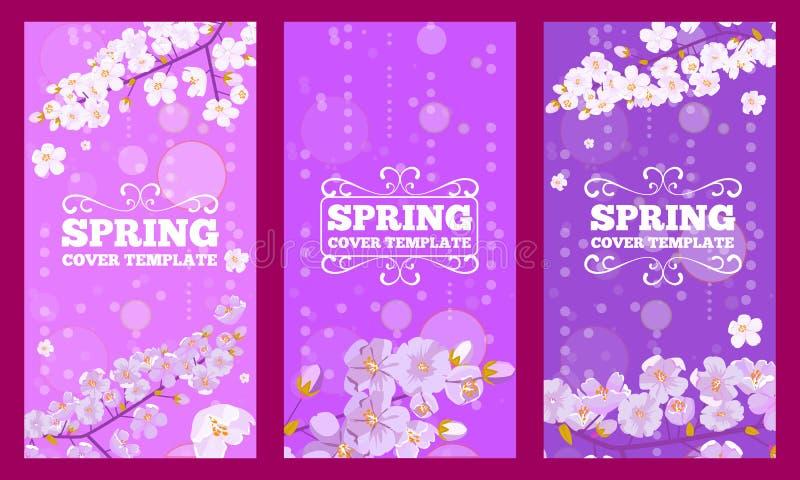 设置樱花装饰的封面设计 春天花概念飞行物设计 r 向量例证