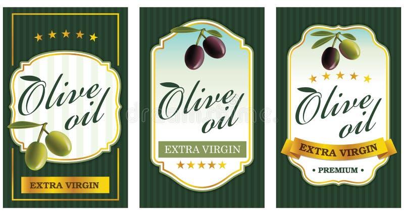 设置橄榄油标签模板 库存照片