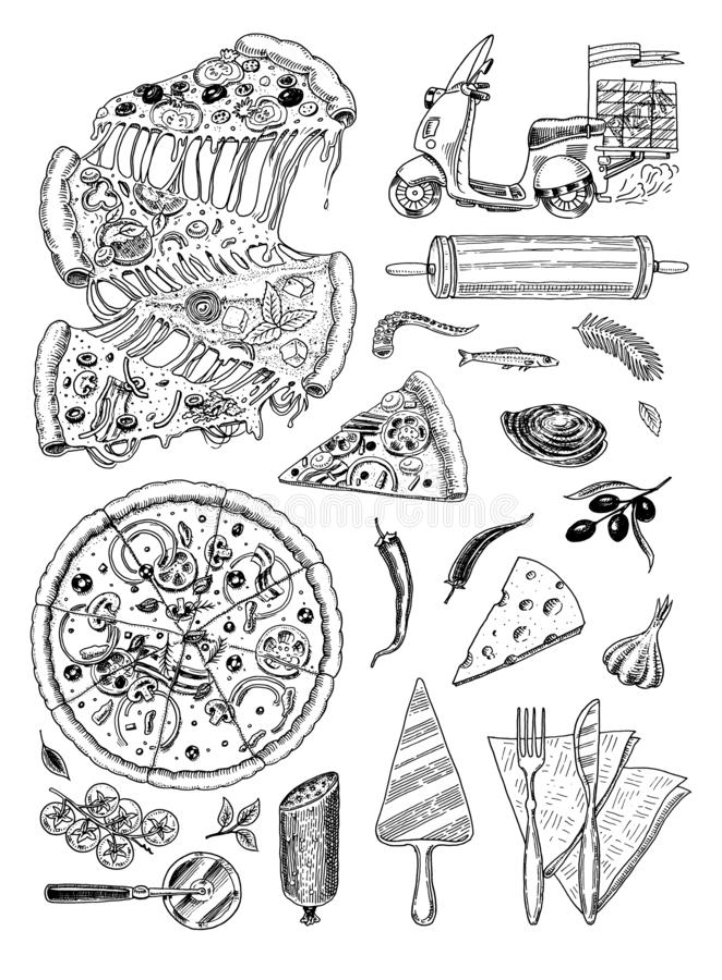 肉食物,香肠和牛排bbq和野餐的 菜单的乱画标志 葡萄酒被刻记的例证图片